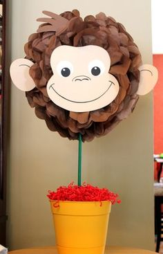 Items similar to Curious George monkey inspired pom pom kit baby shower first birthday party decoration on Etsy First Birthday Party Decorations, 3rd Birthday Parties, 2nd Birthday, Birthday Celebration, Birthday Ideas, Curious George Party, Curious George Birthday, Elephant Centerpieces, Monkey Centerpiece