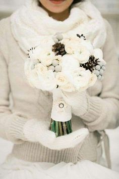 Style your own Gorgeous Winter Wedding Bouquet with a twist of Ruffled Fabric Ribbon Trim. Great look for bridesmaids // Photo by Anastasiya Belik {wedding photography, DIY, winter bride, bridal bouquet} Winter Wedding Decorations, Winter Wedding Flowers, Winter Weddings, Outside Winter Wedding, Winter Wedding Boots, Wedding Colours, Ruffle Fabric, Fabric Ribbon, Pinecone Bouquet