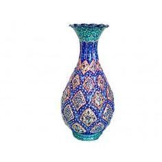 Minakari - Enamel work -The blue line contour vase