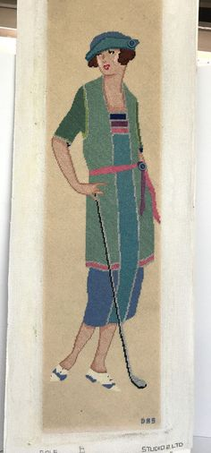 Lady Golfer Golf Studio 2LTO Blue Needlepoint Picture 33 Inches Tall #Unbranded