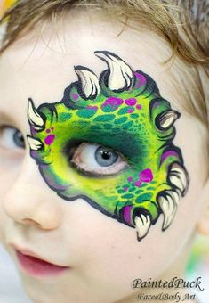 When you think about face painting designs, you probably think about simple kids face painting designs. Many people do not realize that face painting designs go Dinosaur Face Painting, Monster Face Painting, Dragon Face Painting, Eye Face Painting, Mime Face Paint, Face Painting For Boys, Face Painting Designs, Painting Patterns, Paint Designs