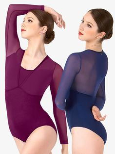 Exceptional quality and remarkable style. Create long, elegant lines with this beautiful long sleeve ballet leotard. Features a scoop front with a v-cut overlay, mesh sleeves, and a striking mesh back. A stunning performance leotard. Leotard is unlined. Lyrical Costumes, Ballet Costumes, Leotard Fashion, Long Sleeve Leotard, V Cuts, Dance Outfits, Dance Wear, Leotards, Elegant