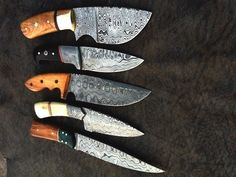 5,HANDMADE DAMASCUS steel HUNTING ( SUMMER OFFER ) MIX BEAUTIFUL KNIVES W/HANDLE #HANDMADE