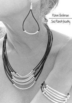 4 pezzi di perline in pelle di gioielli Argento perline tubo