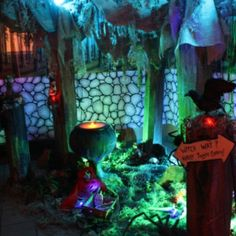 My Grimm fairytale Halloween party. I made the trees from cardboard.