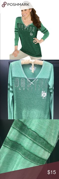 Boston Celtics  Gridiron V-Neck Burnout LS Celtics fan? You'll love this! Like new!                   Distressed screen print graphics 60% Cotton/30% Polyester/10% Rayon Sewn-on stripes Tagless collar Unfinished hems V-neck Metallic foil accents Touch by Alyssa Milano Tops Tees - Long Sleeve