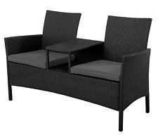 Excalibur Outdoor Living Jack n Jill 2 Seat Bench: Rattan Outdoor Furniture Set
