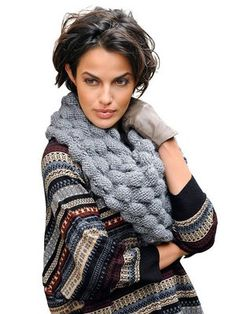 Textured cowl (knit). A fun texture to try to create with slip stitch or Tunisian crochet.