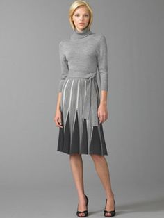 BCBG Max Azria grey wool dress with Art Deco inspired skirt