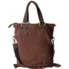 37 FRESSIA™  Embroidered, Canvas tote shoulder bag Coffee