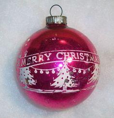 SHINY BRITE Vintage MercuryGlass Pink Merry Christmas Tree Stencil Ball Ornament