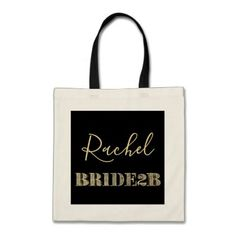 Bride To Be Black and Gold Glitter Typography Name Tote Bag - bridal party gifts wedding ideas diy custom