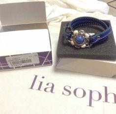 "#LiaSophia #UnderWraps 6.5""-8"" New With Tags Blue #Leather #Bracelet In The Box #liasophiajewelry #jewelry"