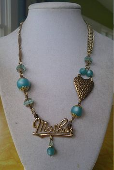Upcycled necklace mothers day repurposed vintage retro