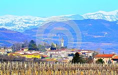 Beautiful scenic view of vineyards, village, foothillssnowy Alps mountains crest in the distance on nice bright blue skies background,Veneto region,near Verona,North Italy