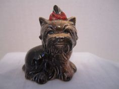 Goebel Yorkie Red Bow Yorkshire Terrier Dog Miniature Puppy West Germany #514