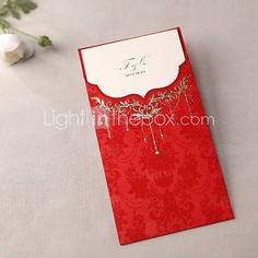 Royal Luxury Tri-fold Wedding Invitation In Red (Set of 50)
