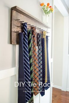DIY Tie Rack Tutorial || Rustic and totally awesome! Perfect gift idea for Father's Day.