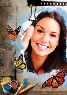 Decorar foto con obra de-arte magica con mariposas