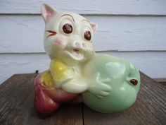 Shawnee Pottery Pig and Apple planter by Catsandclover on Etsy, $14.00