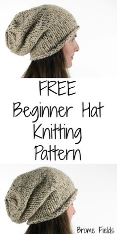 Grab this FREE Beginner's Slouchy Hat Knitting Pattern. This is a great beginner hat knitting pattern if you're looking for your first hat to knit. Patterns for beginners {FREE} Beginner's Slouchy Hat Knitting Pattern Knit Slouchy Hat Pattern, Beanie Knitting Patterns Free, Beanie Pattern Free, Beginner Knitting Patterns, Easy Knitting Projects, Knitting Blogs, Knitting For Beginners, Start Knitting, Slouchy Beanie Hats