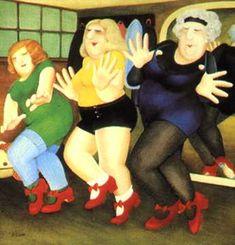 The Dancing Class Beryl Cook silkscreen John Cook, Beryl Cook, Dance Paintings, Tap Dance, Fat Women, Dance Class, Happy People, Pictures To Paint, Fernando Botero