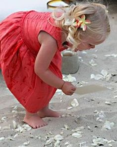 Summer Time + Picking up sea shells at the beach + little girl