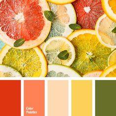 brown, color of grapefruit, dark green, green color, greenery, Pantone color 2017, rich orange, shades of grapefruit pulp, shades of orange, summer colors, warm shades of orange, warm yellow.