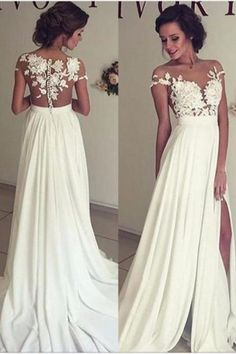 2016 Summer Beach Chiffon Wedding Dresses, Lace and Chiffon Wedding Dress, A-line Wedding Dresses, Charming Prom Dresses, Lace Top Short Sleeves Side Slit Garden Elegant Bridal Gowns