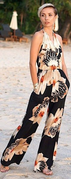 Floral Halter Jumpsuit                                                                             Source