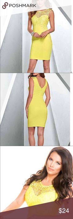 "Yellow Venus Lace Mini Dress Gorgeous bright yellow dress. Worn once for pageant headshots (shown in last photo) Invisible back zip V-neck at back 20"" in length from natural waist Poly/spandex. Yellow Venus Lace Mini Dress Venus Dresses Mini"