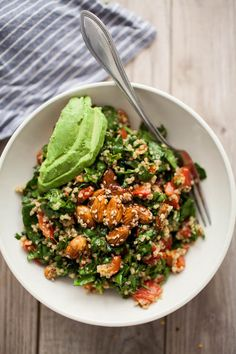 Sesame-Almond + Avocado Spinach Salad / by Naturally Ella