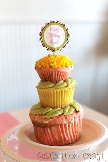 Cupcake cake for 1st Birthday Party - Destination Craft Blog first-birthday-party-ideas
