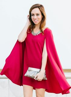 Sydne Style - Chic 16: BaubleBar $200 Gift Card Giveaway, red dress, cape dress, cape, how to wear a red dress, baublebar