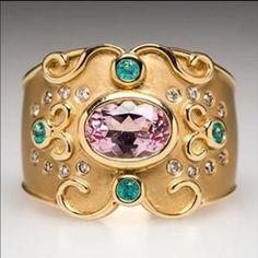 Judy Mayfield ring with Morganite Paraiba Tourmaline & diamonds in 18K gold