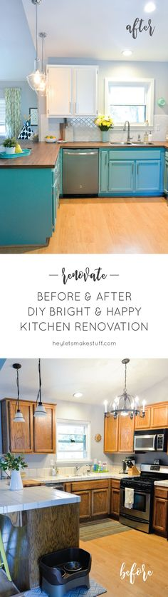 66 Trendy Home Diy Kitchen Budget Butcher Blocks Kitchen On A Budget, Kitchen Redo, Kitchen Design, Kitchen Ideas, Kitchen Paint, Happy Kitchen, Kitchen White, Green Kitchen, Kitchen Backsplash