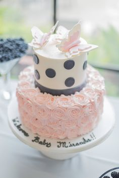 Pink and gray baby shower cake with butterflies Cakes With Butterflies, Butterfly Cakes, Cupcakes, Cupcake Cakes, Buttercream Cake Designs, Bolo Cake, Butterfly Baby Shower, Gateaux Cake, Cool Wedding Cakes