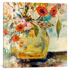 Poppies and More by Julian Spencer Painting Print on Wrapped Canvas