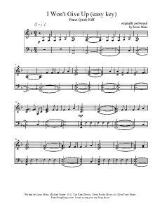I Won't Give Up - Jason Mraz (easy key). Find more free sheet music at www.PianoBragSongs.com.