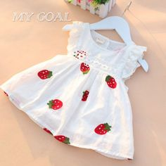 Baby Girl Dress Newborn Baby Summer Embroidery Flower Strawberry Cotton Dress Infant Baby Birthday Dress Baby Clothes - Kid Shop Global - Kids & Baby Shop Online - baby & kids clothing, toys for baby & kid Baby Outfits, Newborn Outfits, Baby Girl Dresses, Baby Dress, Kids Outfits, Dress Girl, Ruffle Dress, Baby Birthday Dress, Birthday Dresses