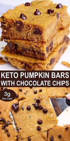 Gluten Free Pumpkin Bars, Gluten Free Desserts, Healthy Desserts, Gluten Free Recipes, Dessert Recipes, Healthy Recipes, Chocolate Chip Cookie Bars, Keto Chocolate Chips, Pumpkin Chocolate Chips