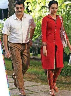 Ajith in Movie Latest Stills. Ajith Kumar and Trisha Krishnan starring stills of Untitled Gautham Menon-Ajith Kumar movie stills. Salwar Designs, Blouse Designs, Dress Robes, I Dress, Indian Attire, Indian Wear, Chudidhar Designs, Salwar Pants, Kurti Styles