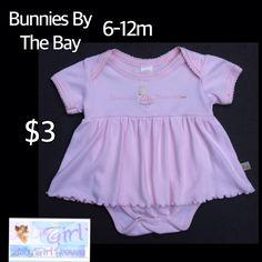 "Bunnies By The Bay 6-12m Infant Girls ""Wondress Bundress"" Onesie Dress $3"