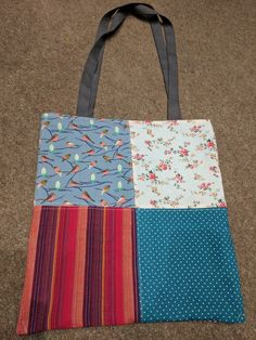Patchwork Tote with Aqua Lining Side 1 (£15)