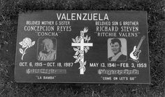 ( 2016 † IN MEMORY OF ) - † ♪♫♪♪ Ritchie Valens grave at San Fernando Mission Cemetery, Mission Hills, Los Angeles, California. He and his mother Concepcion share the headstone. Pet Cemetery, Cemetery Headstones, San Fernando Mission, Famous Tombstones, Ritchie Valens, Famous Graves, Celebrity Stars, Buddy Holly, Rock And Roll