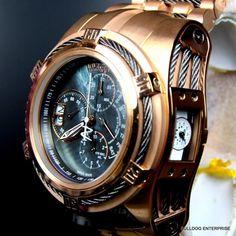 Mens Invicta Reserve Bolt Zeus Tria Rose Gold 56mm Black MOP Swiss Watch New | eBay