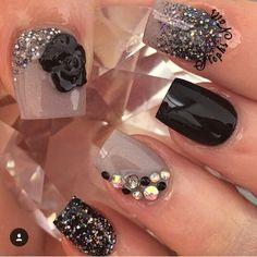 Nude and black acrylic nails nail art Get Nails, Fancy Nails, Bling Nails, Love Nails, Hair And Nails, Edgy Nails, Elegant Nails, Prom Nails, Fabulous Nails