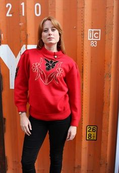 Vintage 80s Red Jumper with Sequin Flowers and Collar