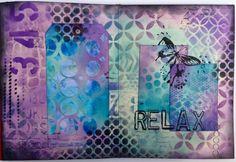 Combining ink & paint in your art journal - Relax spread (Marjie Kemper)
