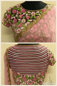 New Blouse Styles for lehengas and latest saree blouses to flaunt your best features - Stunning sheer blouse with pink flower motifs and embellishments Fancy Blouse Designs, Bridal Blouse Designs, Blouse Neck Designs, Blouse Styles, Saree Styles, Vanz, Stylish Blouse Design, Saree Blouse, Sexy Blouse